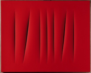 LUCIO FONTANA: red monochrome painting