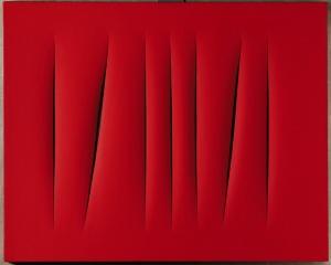 LUCIO FONTANA: red monochrome painting