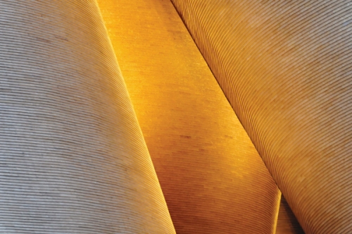Detail of the wheat straw tile facade of the Vanke 2049 Pavilion, Shanghai