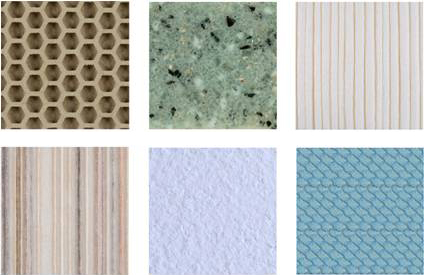 Material Samples from Rematerialise Library: Gridcore, Resilica, Bioviron, BeLeaf, Aimouri Koubou, Atlantic Leather.