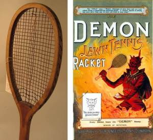 Demon tennis racket from 1900 with supporting advertisement. Images courtesy of Sheffield Hallam University.