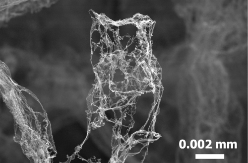 This graphic shows a detail of the world's lightest material: Aerographite. Open carbon tubes form a fine mesh and offer a low density of 0.2 milligram per cubic centimetre. The picture was taken with a scanning electron microscope (TEM). Credit: TUHH